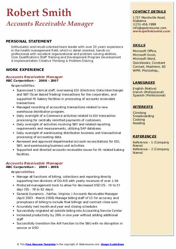 accounts receivable team leader resume sample