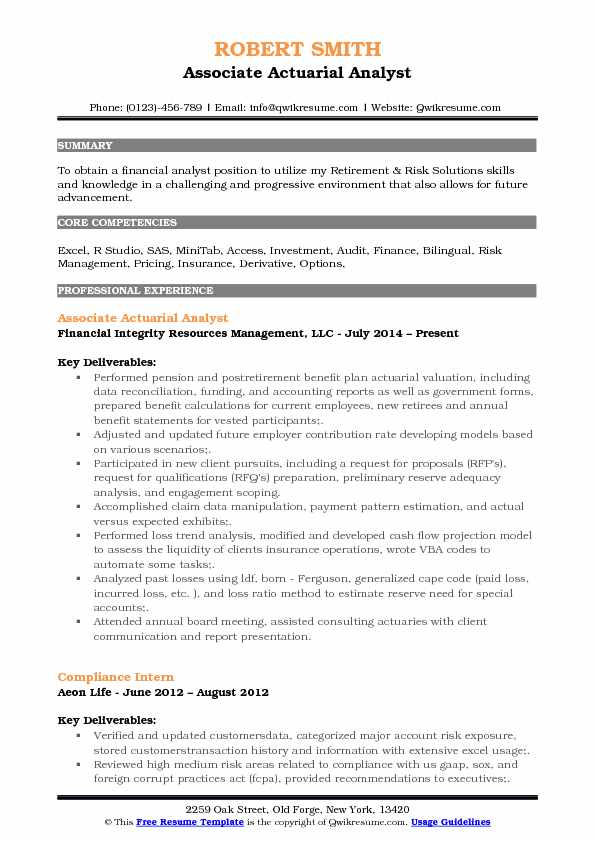 Actuarial Analyst Resume Samples QwikResume