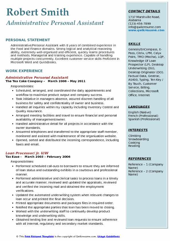 samples of personal assistant resume