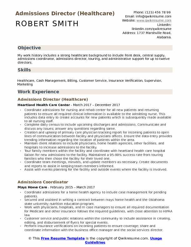 healthcare admissions director resume examples