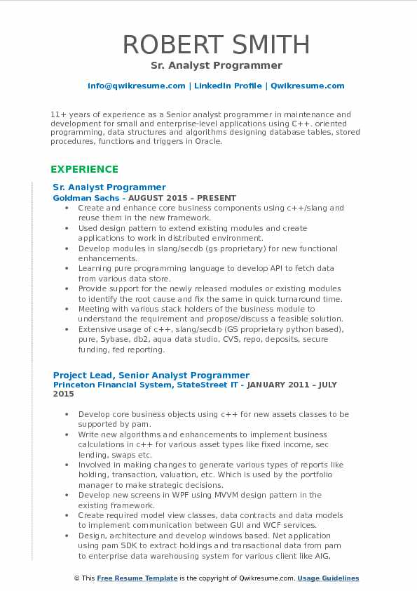 algorithms and data structures sample resume
