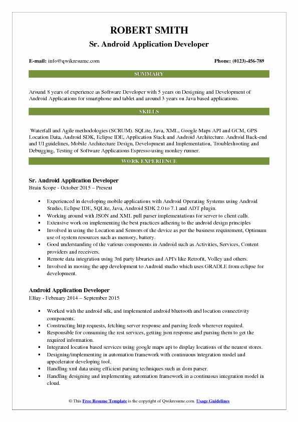 resume headline examples for java developer