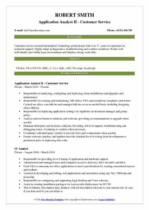 resume work experience customer service