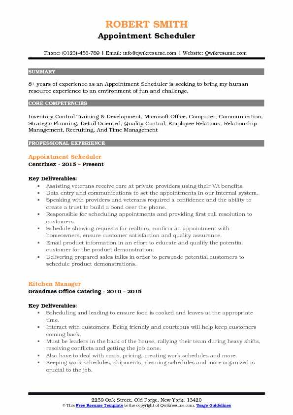 Appointment Scheduler Resume Samples  QwikResume