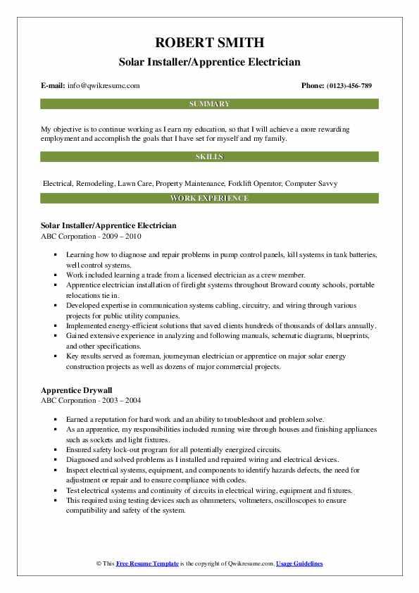 electrician apprentice resume samples
