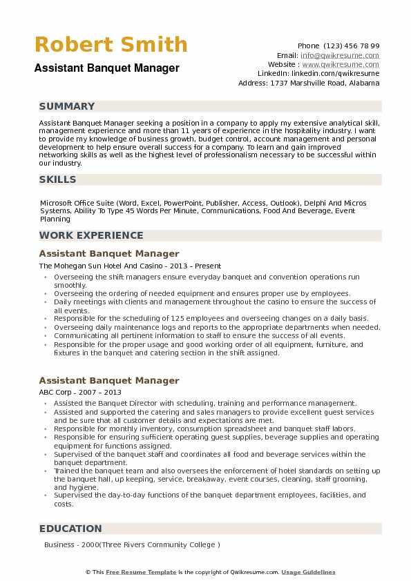 Assistant Banquet Manager Resume Samples Qwikresume