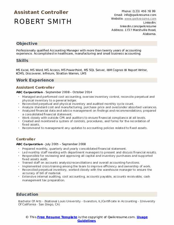 accounting controller resume samples