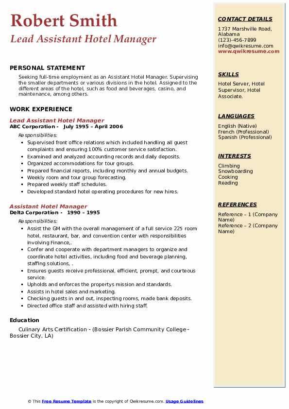 For writing tips, view this sample resume for an accountant that isaacs. Assistant Hotel Manager Resume Samples   QwikResume