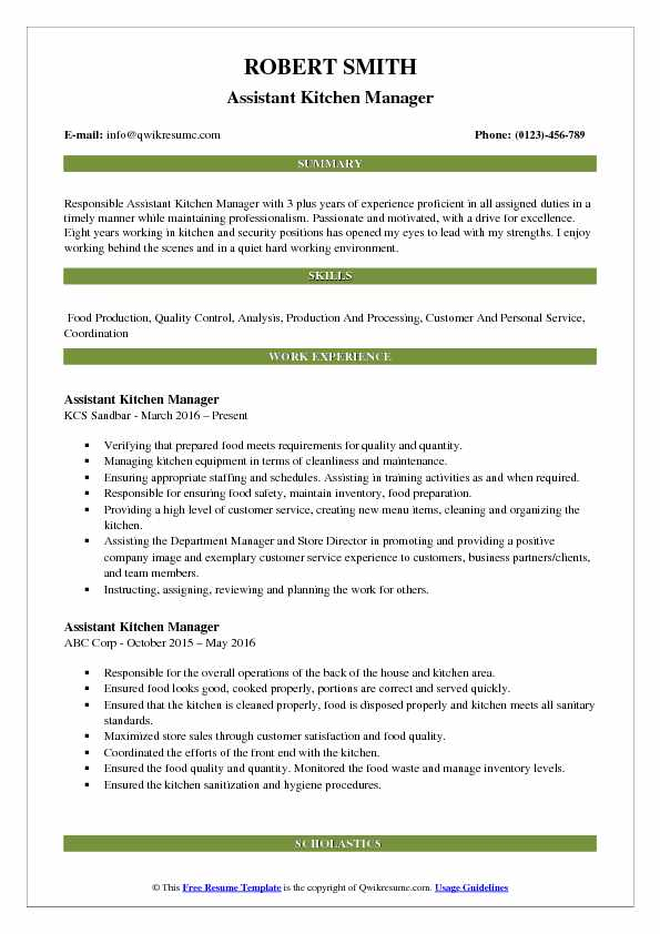 assistant kitchen manager resume samples