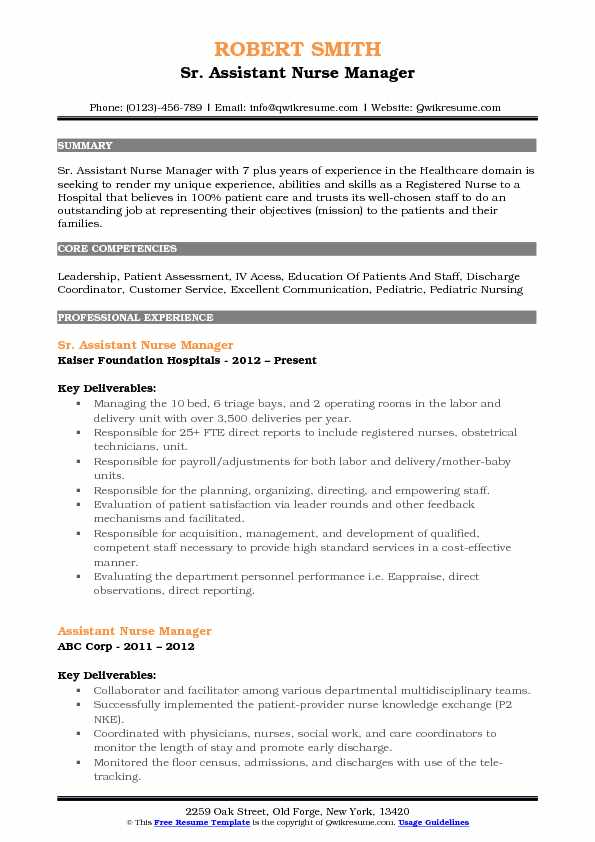 Assistant Nurse Manager Resume Samples QwikResume