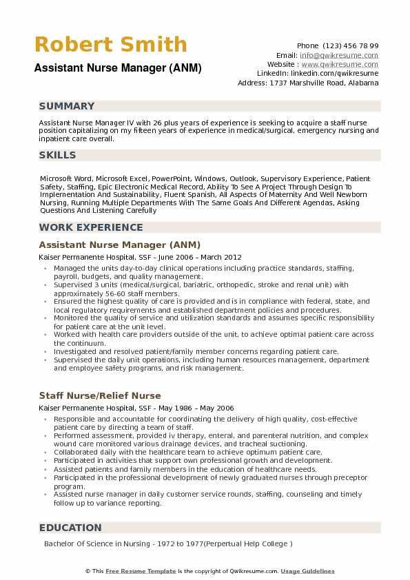 assistant nurse manager resume