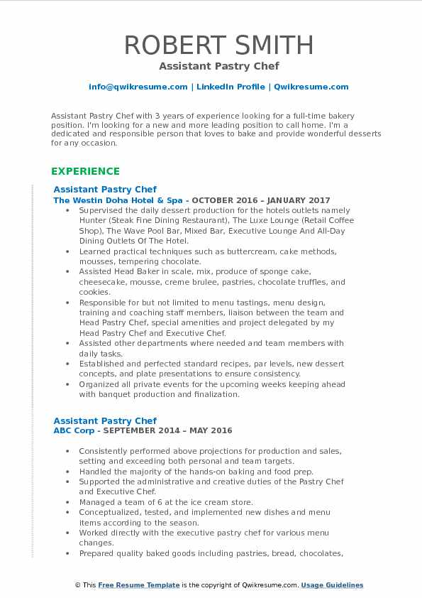 Assistant Pastry Chef Resume Samples  QwikResume