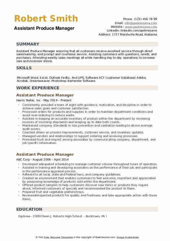 Assistant Produce Manager Resume Samples Qwikresume