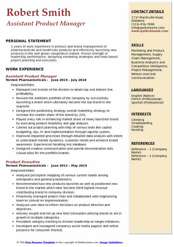 product management sample resume