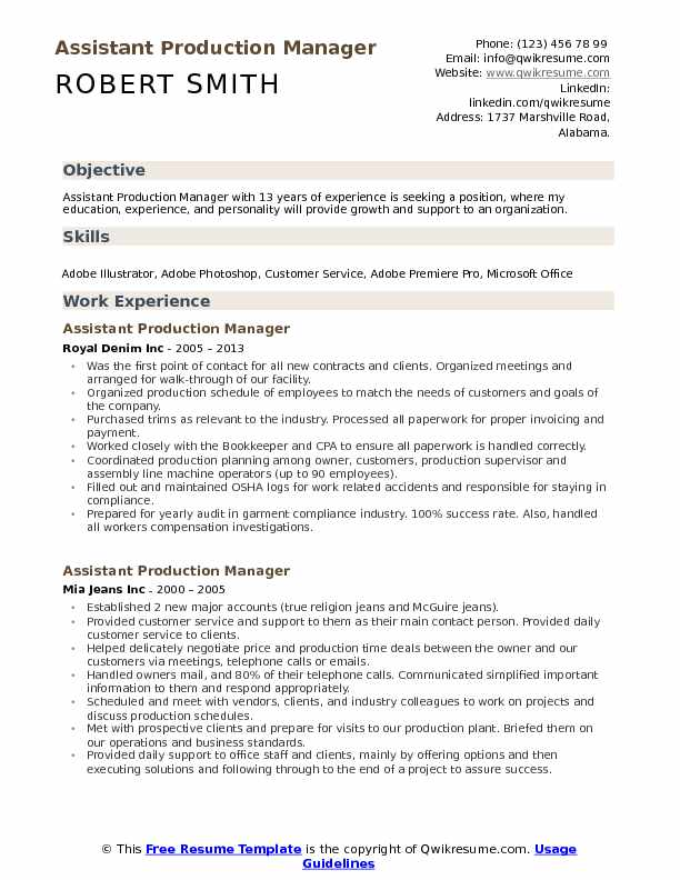 sample garment product manager resume