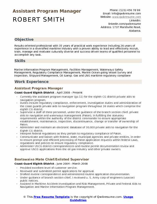 Assistant Program Manager Resume Samples  QwikResume
