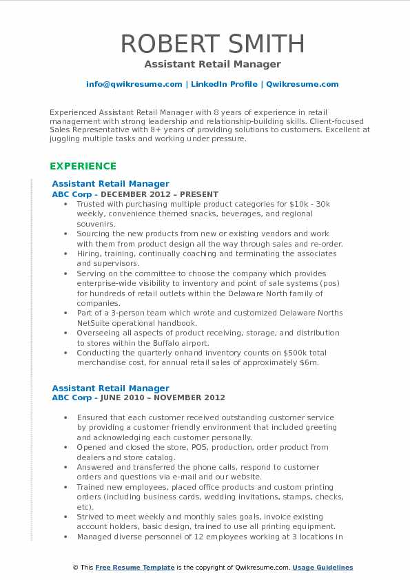 Assistant Retail Manager Resume Samples QwikResumeresume Examples