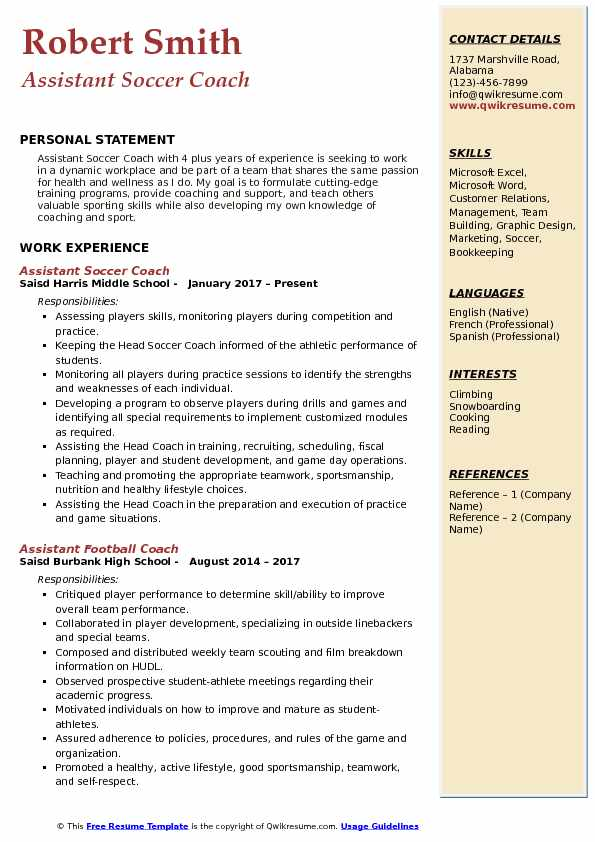 Assistant Soccer Coach Resume Samples Qwikresume