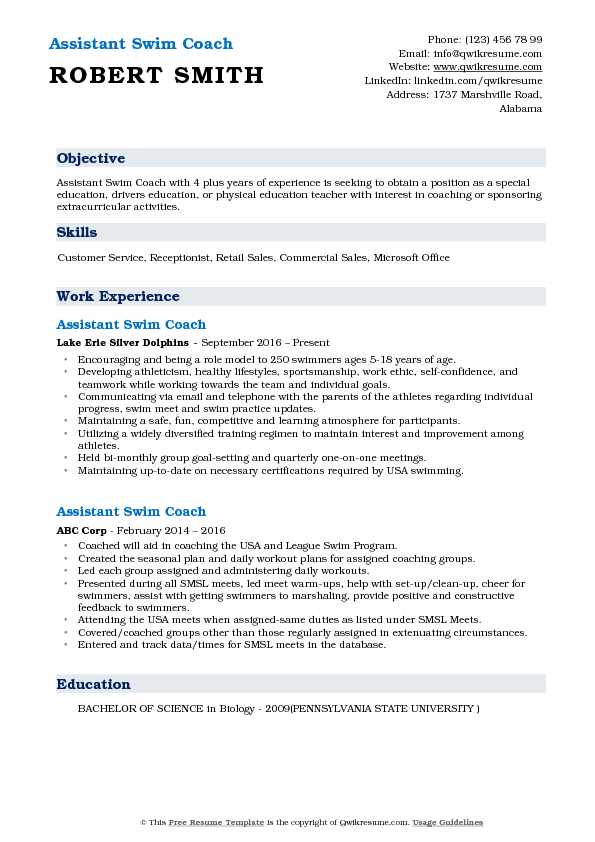 coach resume samples