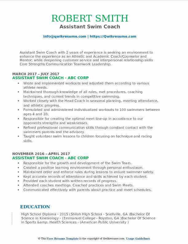 Resume For Academic Coach