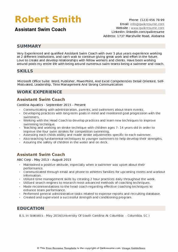 sample assistant swim coach resume