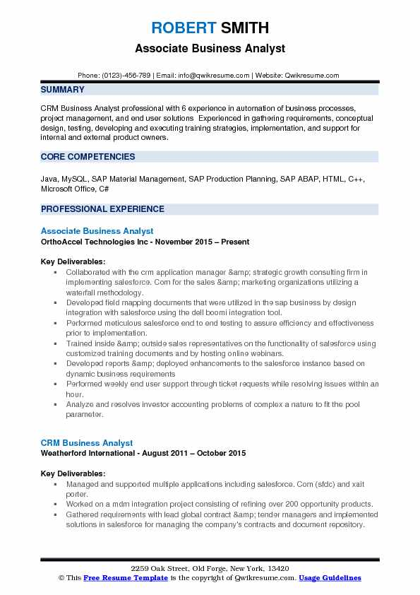 Associate Business Analyst Resume Samples  QwikResume
