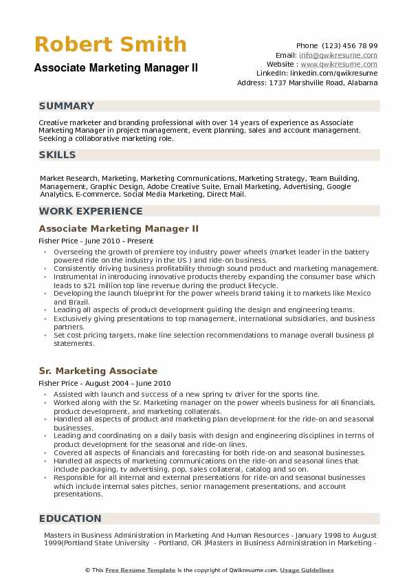 Associate Marketing Manager Resume Samples QwikResume