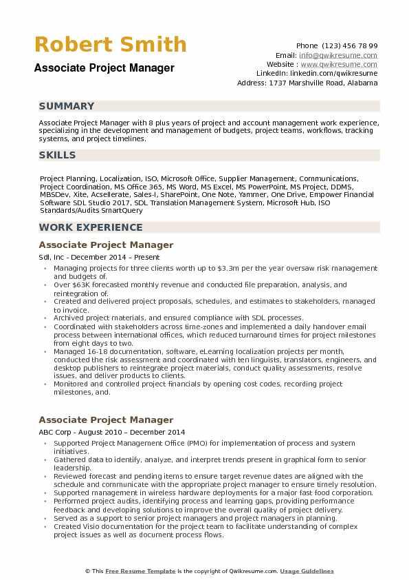 software development project manager resume  resume sample