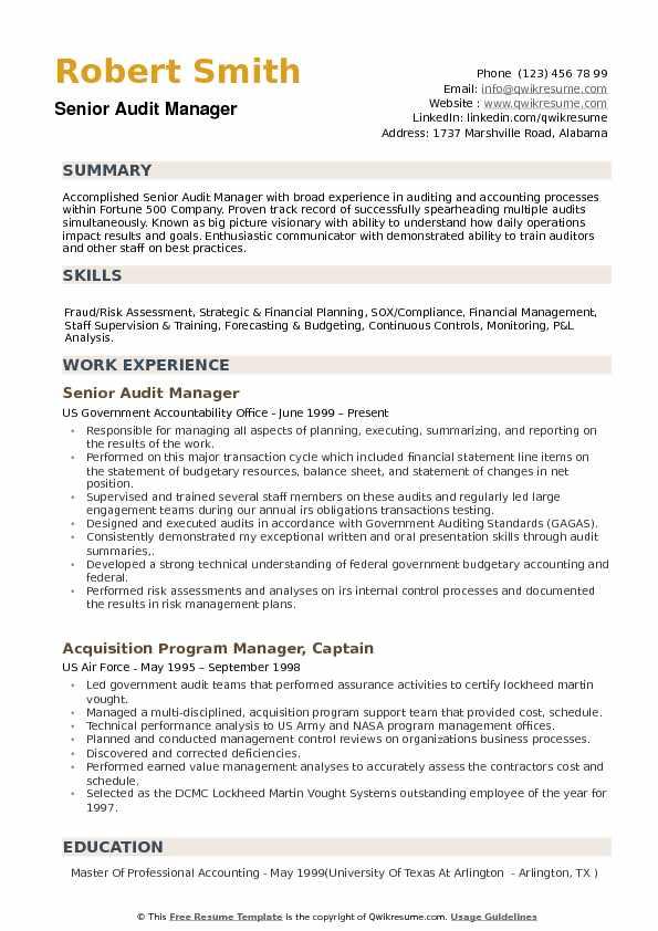 Audit Manager Resume Samples QwikResume