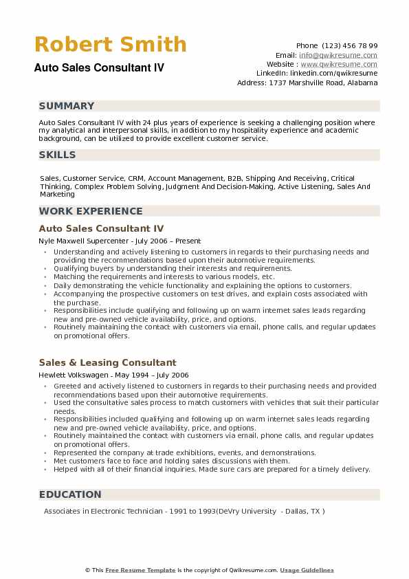 Auto Sales Consultant Resume Samples  QwikResume