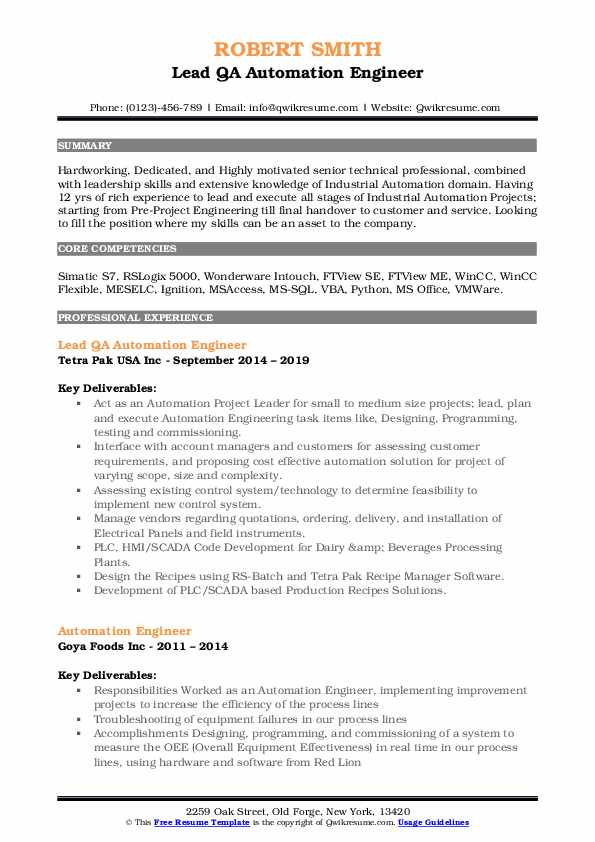 qa automation engineer resume samples 2 years experience