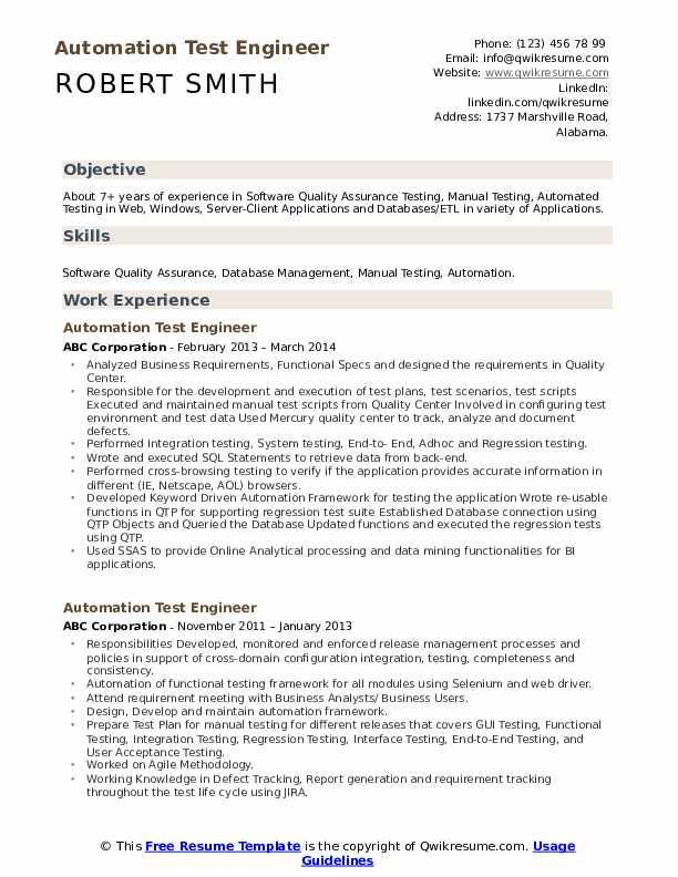 Automation Test Engineer Resume Samples