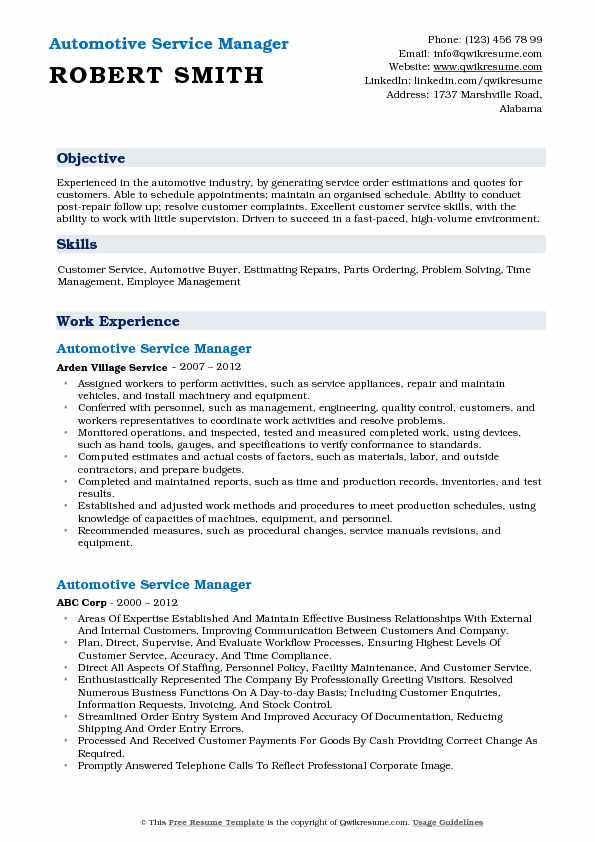 automotive service manager resume examples