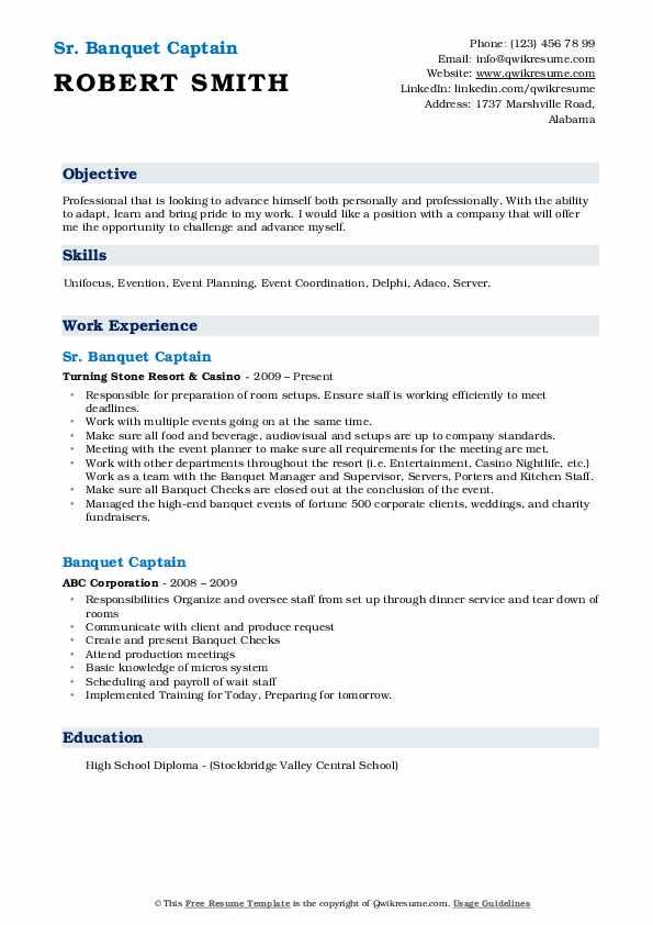 banquet captain resume  resume sample