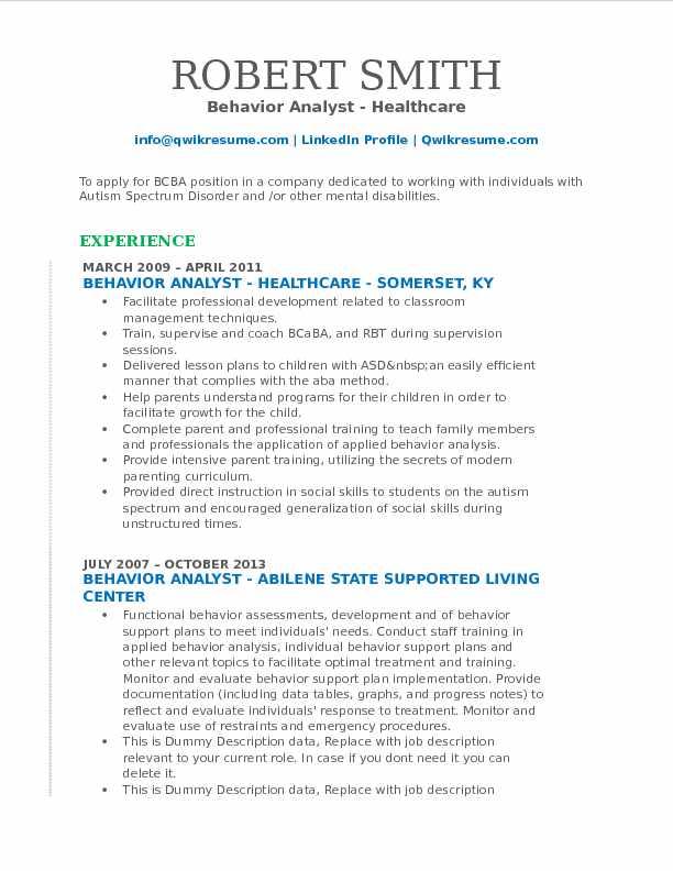 Behavior Analyst Resume Samples  QwikResume