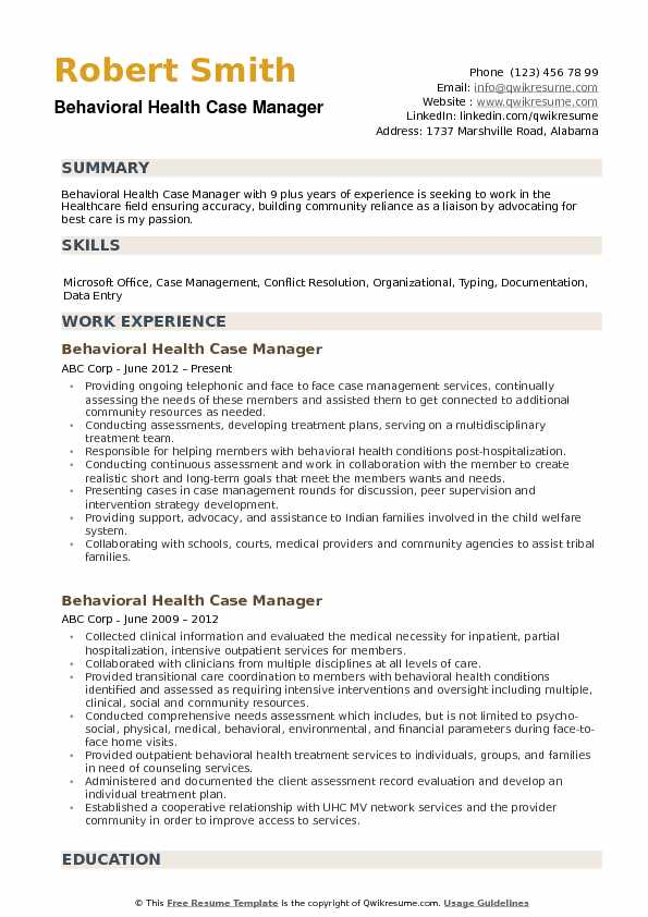 mental health case manager resume examples
