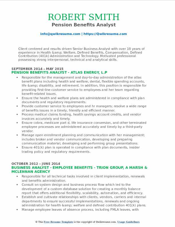 benefit analyst resume samples