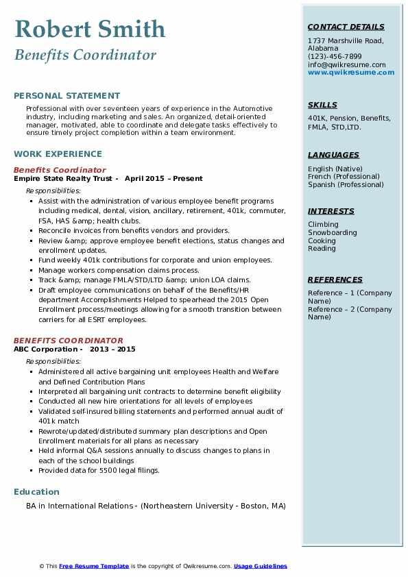 insurance coordinator resume samples