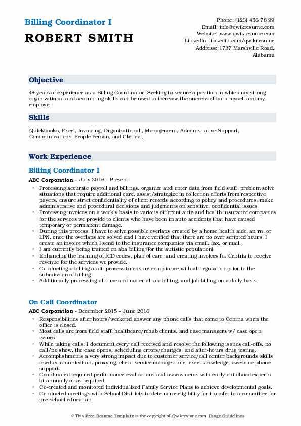 resume description about myself