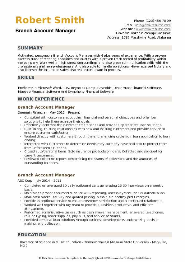 Branch Account Manager Resume Samples | QwikResume