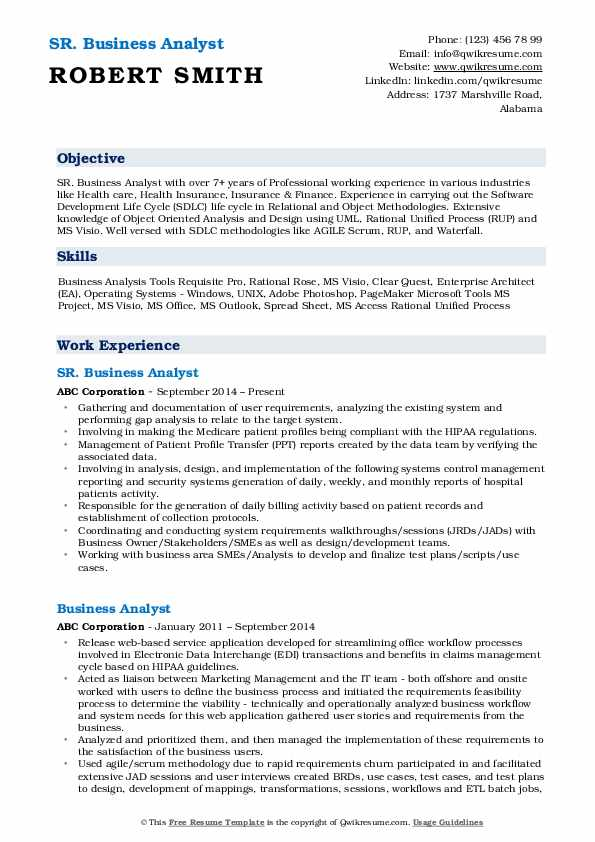 In mba, has made a web site that decaicated to instructions for developing business skills. Business Analyst Resume Samples Qwikresume