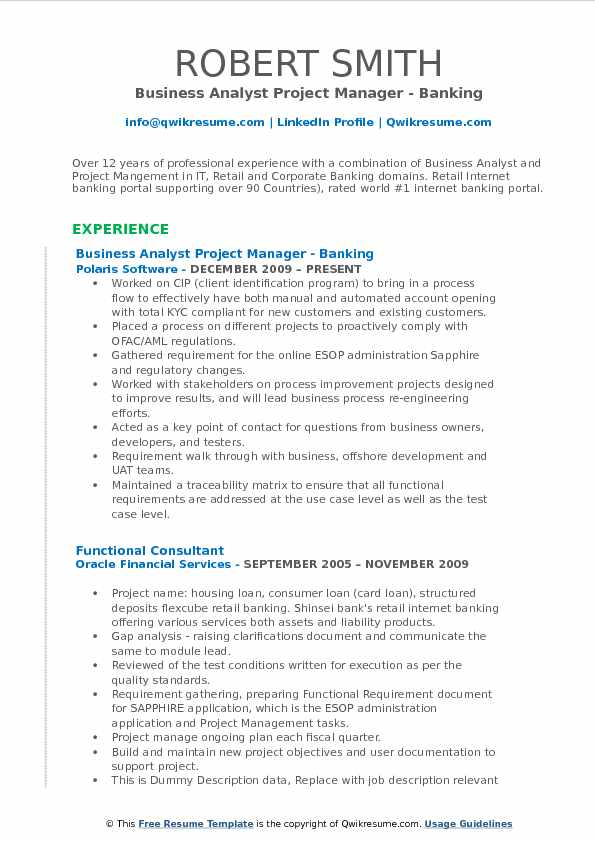 Business Analyst Project Manager Resume Samples Qwikresume