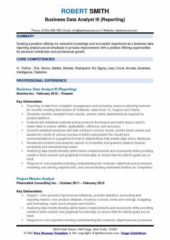 Sample Data Analyst Resume ] | Sample Data Analyst Resume, Sample ...