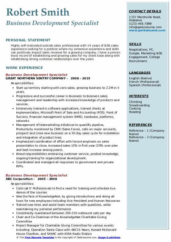 Business Development Specialist Resume Samples Qwikresume