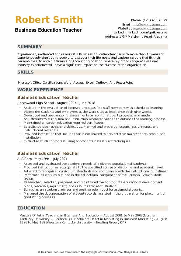 resume for teacher of the year