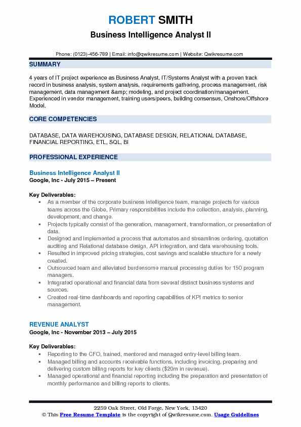 microstrategy business analyst sample resume