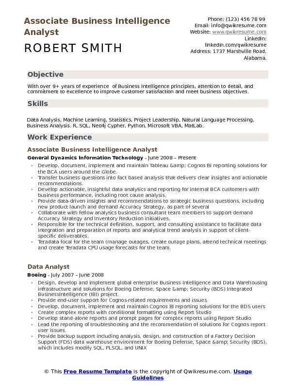 Business Intelligence Analyst Resume Samples QwikResume