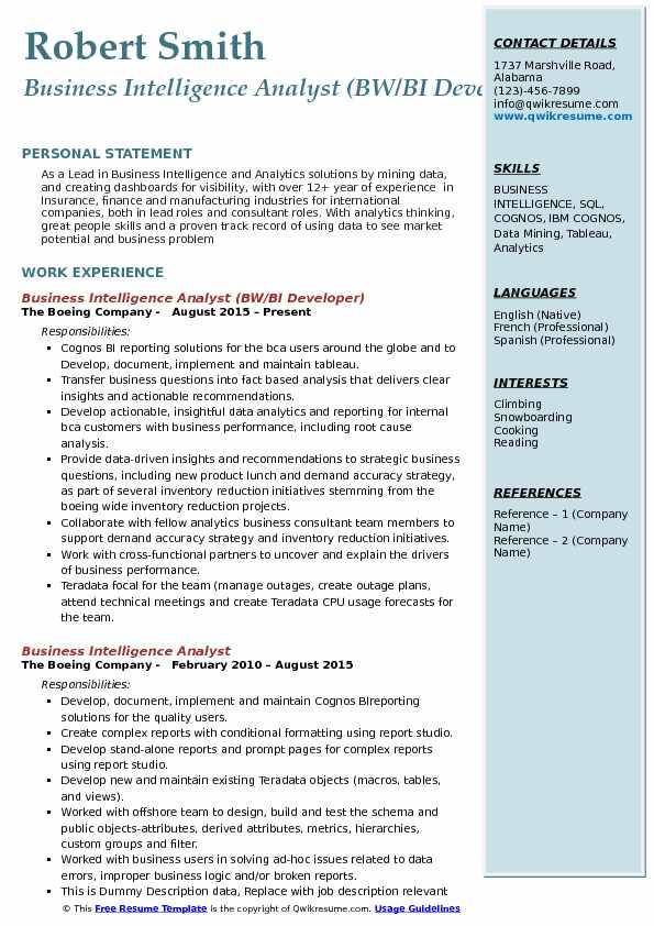 sample power bi resume