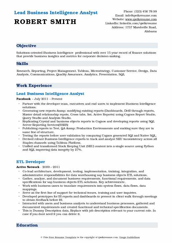 business intelligence analyst resume sample pdf
