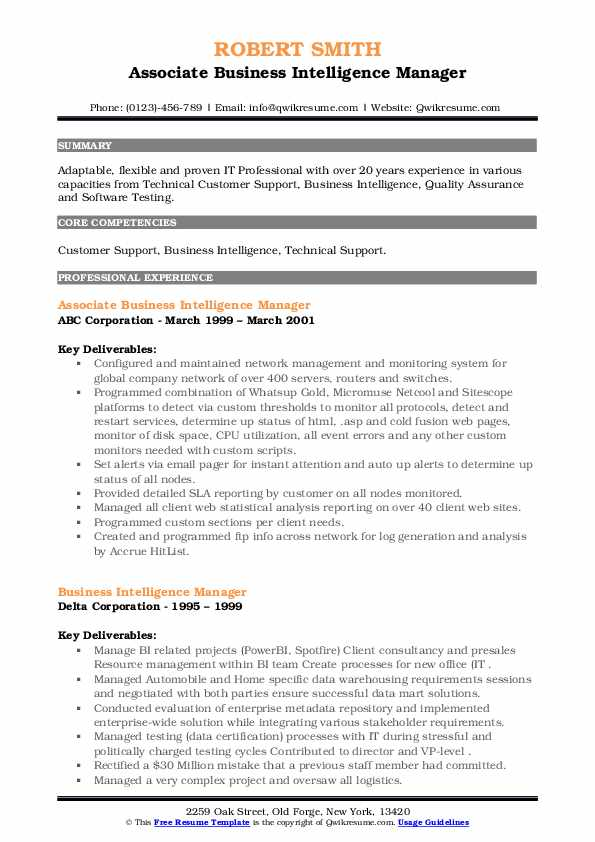 Ensuring you've included the relevant skills and experience on your resume is important to helping you stand out from the rest of the crowd. Business Intelligence Manager Resume Samples Qwikresume